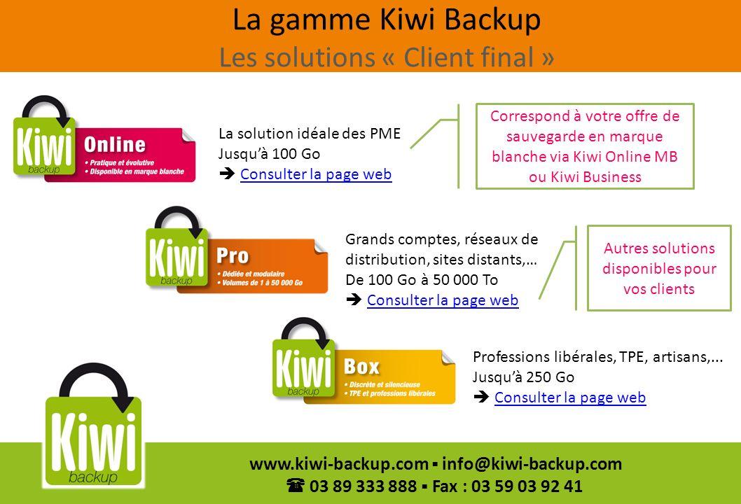 8 www.kiwi-backup.com info@kiwi-backup.com 03 89 333 888 Fax : 03 59 03 92 41 Nous vous installons une plateforme de sauvegarde Kiwi Backup Nous nous occupons de tout (matériel, maintenance, hébergement,…) si vous le souhaitez Kiwi Business « My Cloud » Nous mettons à votre disposition le logiciel de sauvegarde Kiwi backup Kiwi Business « Soft Only » Vous personnalisez l interface client à vos couleurs et logo Vous allouez un volume à chacun de vos clients Vous gérez vos clients grâce à linterface de gestion (écrans en annexe) Vous réalisez lassistance de 1er niveau auprès de vos clients Vous facturez votre client Principe de la distribution en marque blanche Kiwi Online