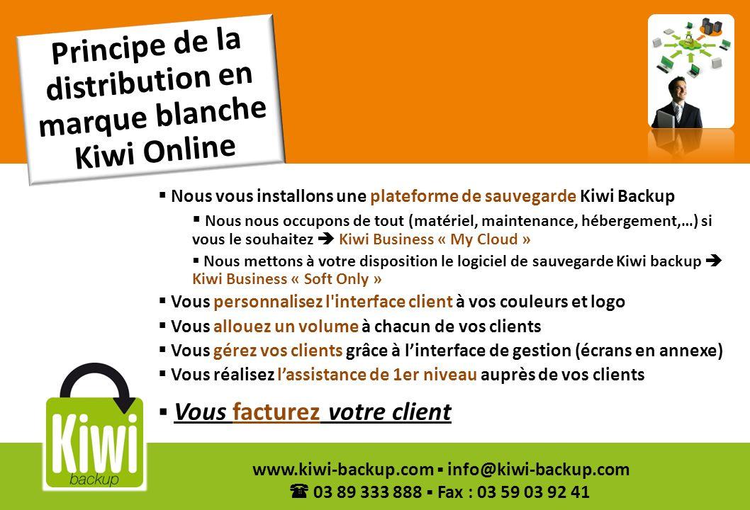 9 www.kiwi-backup.com info@kiwi-backup.com 03 89 333 888 Fax : 03 59 03 92 41 Caractéristiques des produits en marque blanche