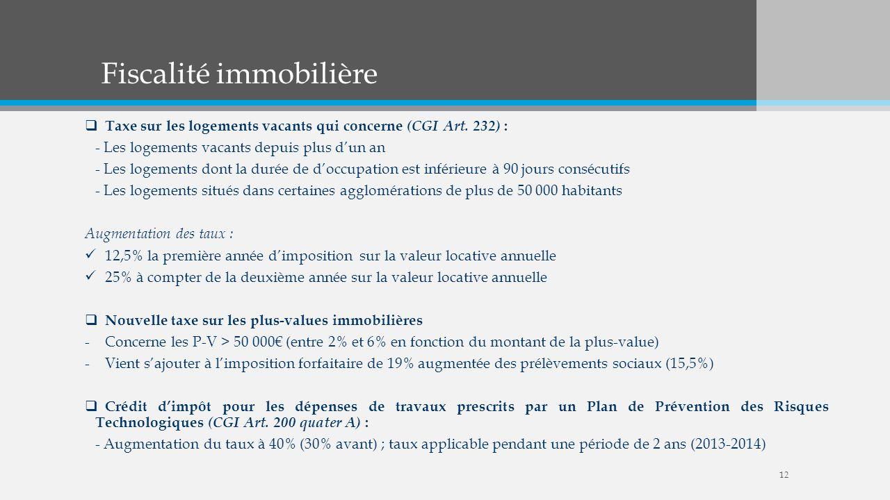 Fiscalité immobilière Taxe sur les logements vacants qui concerne (CGI Art. 232) : - Les logements vacants depuis plus dun an - Les logements dont la
