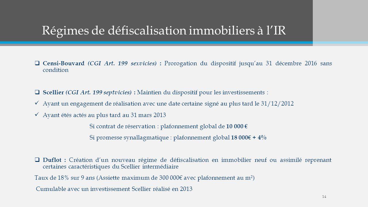 Régimes de défiscalisation immobiliers à lIR Censi-Bouvard (CGI Art. 199 sexvicies) : Prorogation du dispositif jusquau 31 décembre 2016 sans conditio