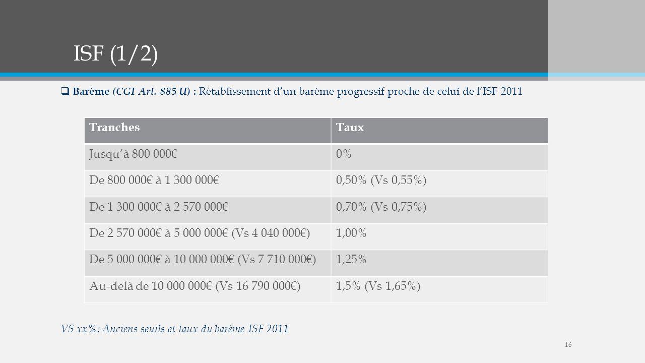 ISF (1/2) Barème (CGI Art. 885 U) : Rétablissement dun barème progressif proche de celui de lISF 2011 VS xx%: Anciens seuils et taux du barème ISF 201