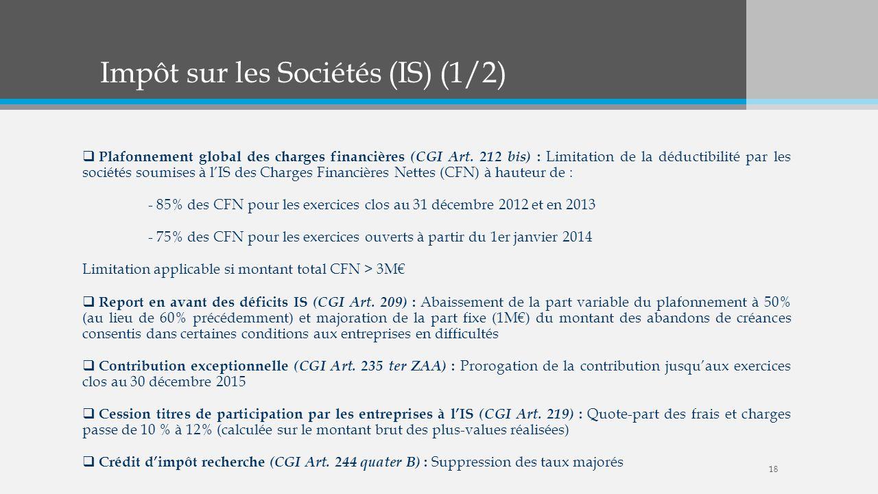 Impôt sur les Sociétés (IS) (1/2) Plafonnement global des charges financières (CGI Art. 212 bis) : Limitation de la déductibilité par les sociétés sou