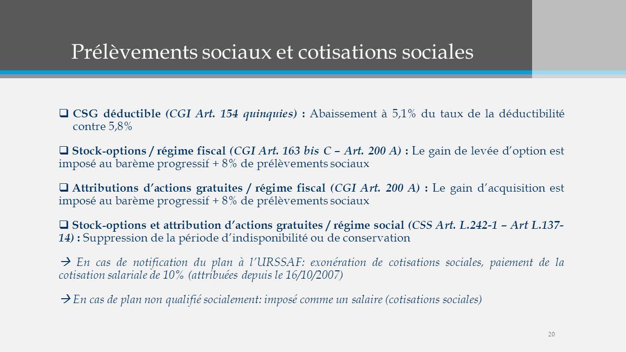 Prélèvements sociaux et cotisations sociales CSG déductible (CGI Art. 154 quinquies) : Abaissement à 5,1% du taux de la déductibilité contre 5,8% Stoc