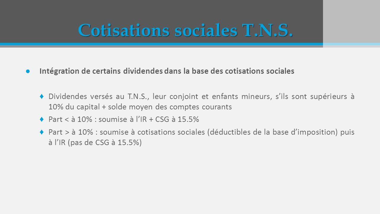Cotisations sociales T.N.S. Intégration de certains dividendes dans la base des cotisations sociales Dividendes versés au T.N.S., leur conjoint et enf