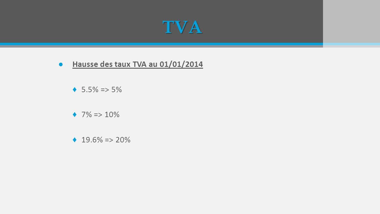 TVA Hausse des taux TVA au 01/01/2014 5.5% => 5% 7% => 10% 19.6% => 20%