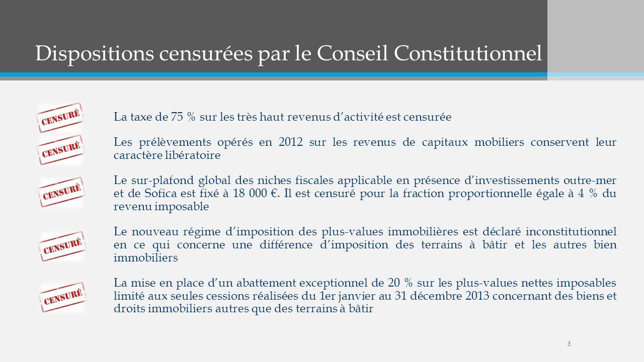 Dispositions censurées par le Conseil Constitutionnel La taxe de 75 % sur les très haut revenus dactivité est censurée Les prélèvements opérés en 2012