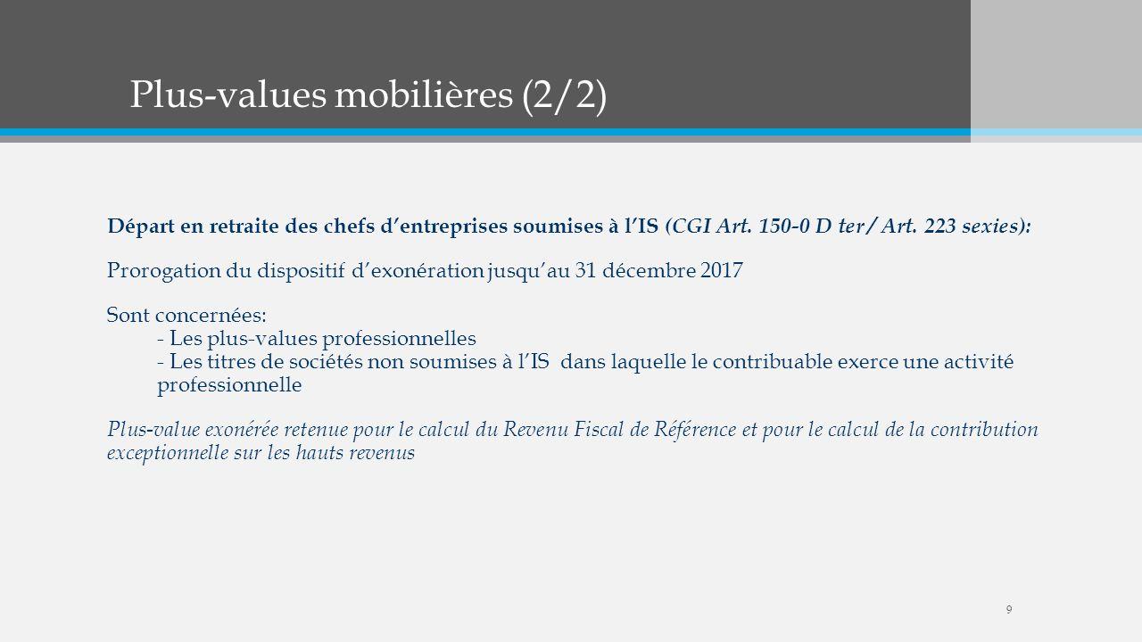 Plus-values mobilières (2/2) Départ en retraite des chefs dentreprises soumises à lIS (CGI Art. 150-0 D ter / Art. 223 sexies): Prorogation du disposi