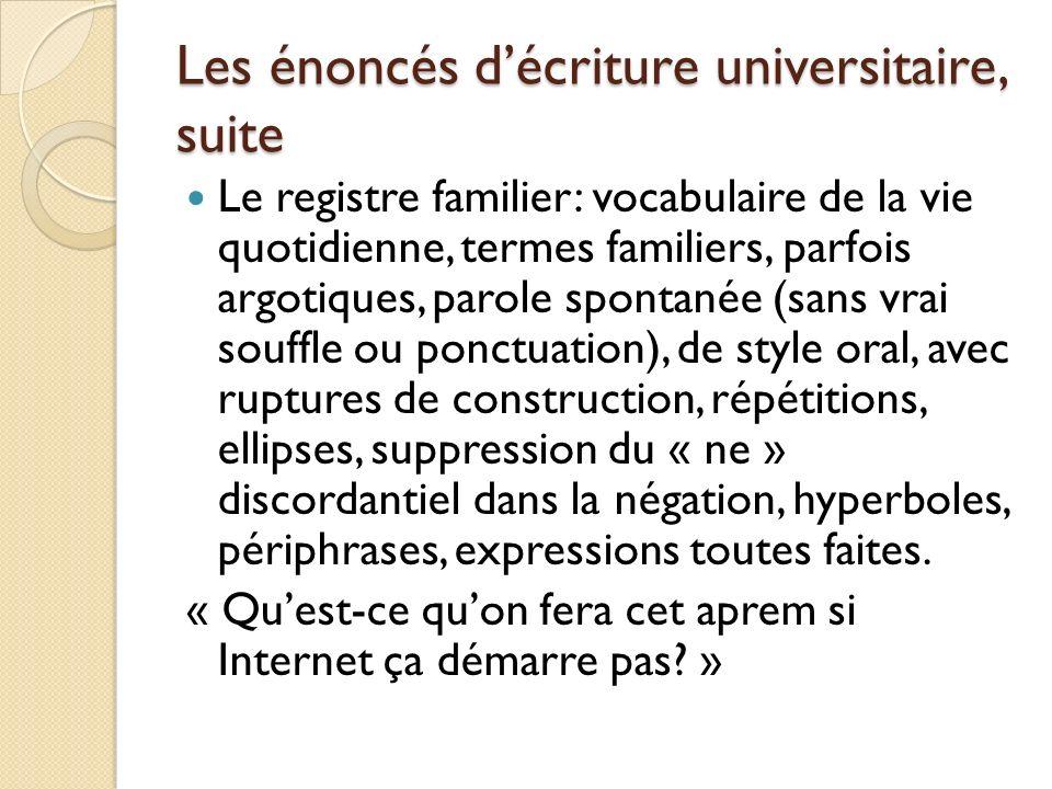 Les énoncés décriture universitaire, suite Registre populaire, argotique et vulgaire.
