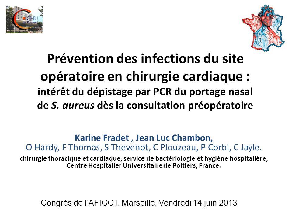 Introduction Staphylococcus aureus : agent pathogène le plus fréquent dans les complications post opératoires de chirurgie cardiaque.