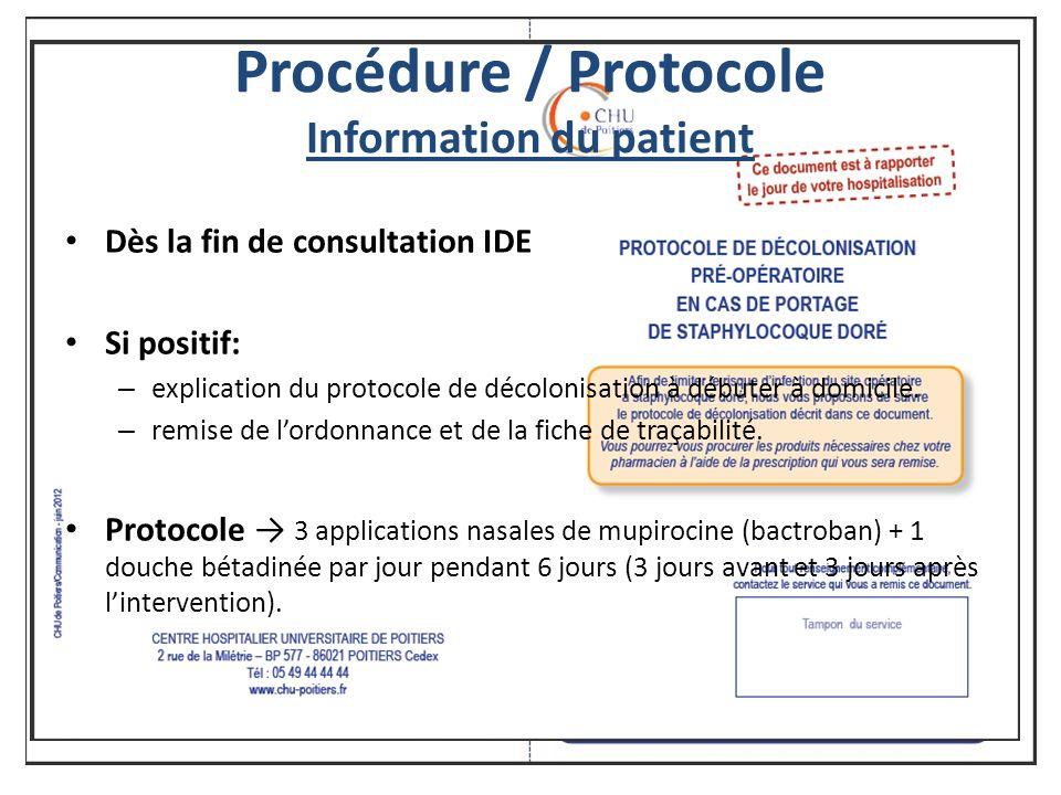 Procédure / Protocole Information du patient Dès la fin de consultation IDE Si positif: – explication du protocole de décolonisation à débuter à domicile.