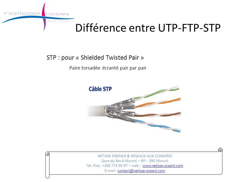 STP : pour « Shielded Twisted Pair » Paire torsadée écranté pair par pair Différence entre UTP-FTP-STP NETISSE ENERGIE & RESEAUX AUX COMORES Gare du N