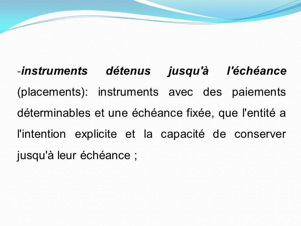 - instruments détenus jusqu'à l'échéance (placements): instruments avec des paiements déterminables et une échéance fixée, que l'entité a l'intention