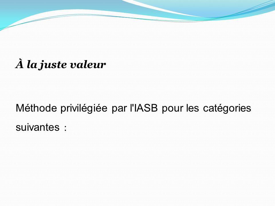 À la juste valeur Méthode privilégiée par l'IASB pour les catégories suivantes :