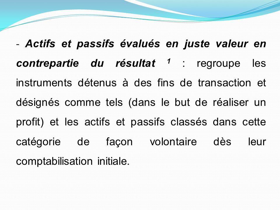 - Actifs et passifs évalués en juste valeur en contrepartie du résultat 1 : regroupe les instruments détenus à des fins de transaction et désignés com