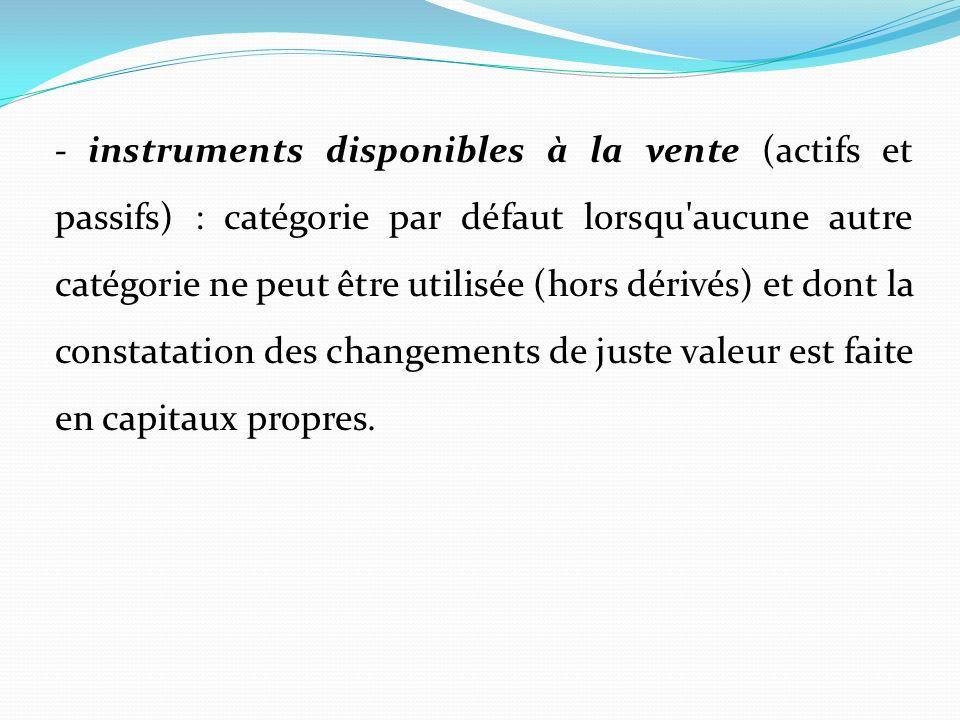 - instruments disponibles à la vente (actifs et passifs) : catégorie par défaut lorsqu'aucune autre catégorie ne peut être utilisée (hors dérivés) et