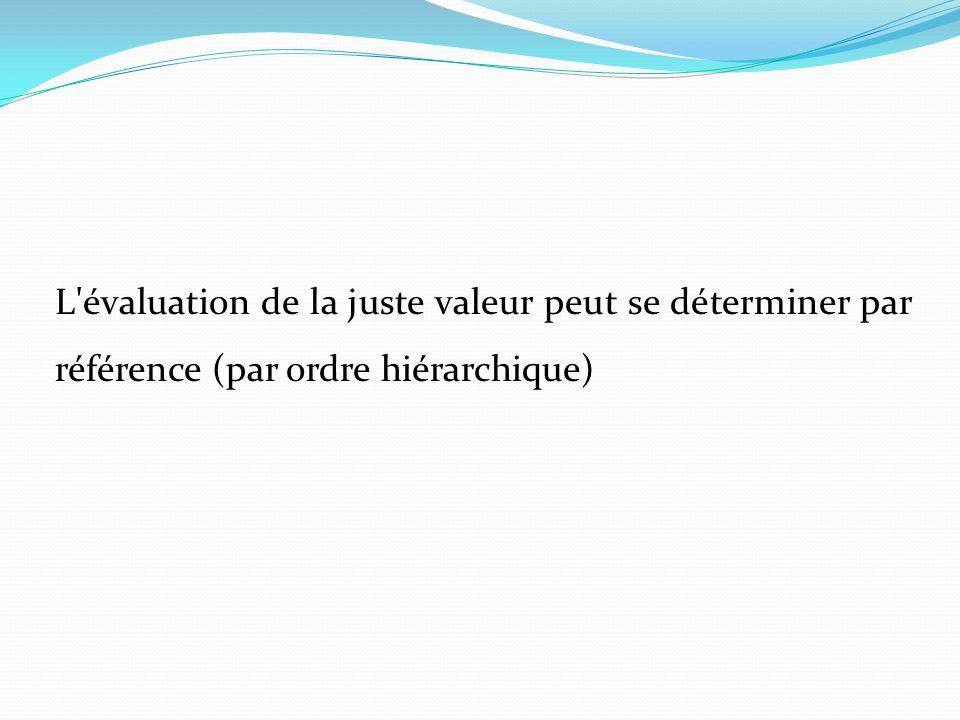 L'évaluation de la juste valeur peut se déterminer par référence (par ordre hiérarchique)