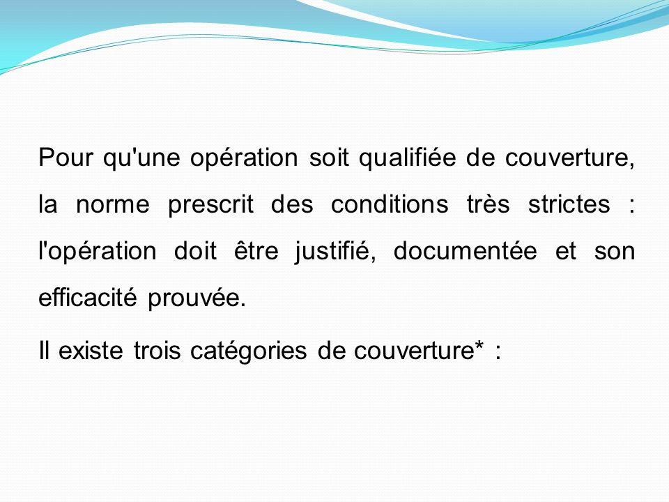 Pour qu'une opération soit qualifiée de couverture, la norme prescrit des conditions très strictes : l'opération doit être justifié, documentée et son