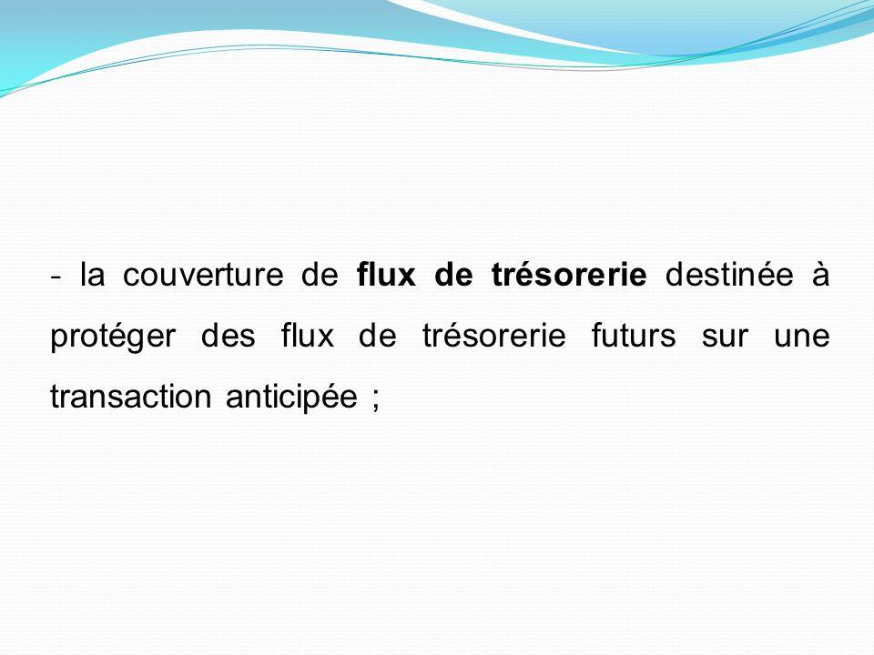 - la couverture de flux de trésorerie destinée à protéger des flux de trésorerie futurs sur une transaction anticipée ;