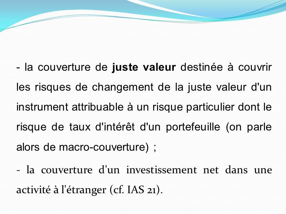 - la couverture de juste valeur destinée à couvrir les risques de changement de la juste valeur d'un instrument attribuable à un risque particulier do