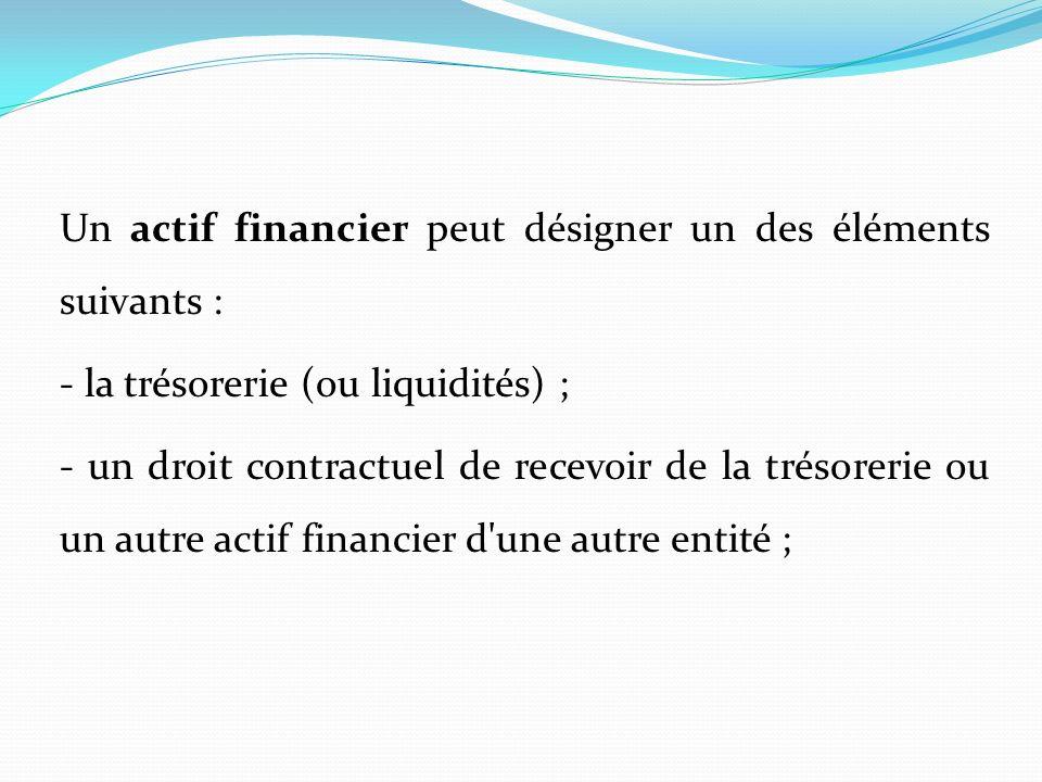 Un actif financier peut désigner un des éléments suivants : - la trésorerie (ou liquidités) ; - un droit contractuel de recevoir de la trésorerie ou u