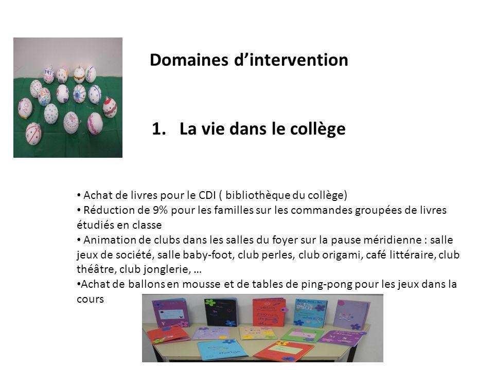 Domaines dintervention 1.La vie dans le collège Achat de livres pour le CDI ( bibliothèque du collège) Réduction de 9% pour les familles sur les comma