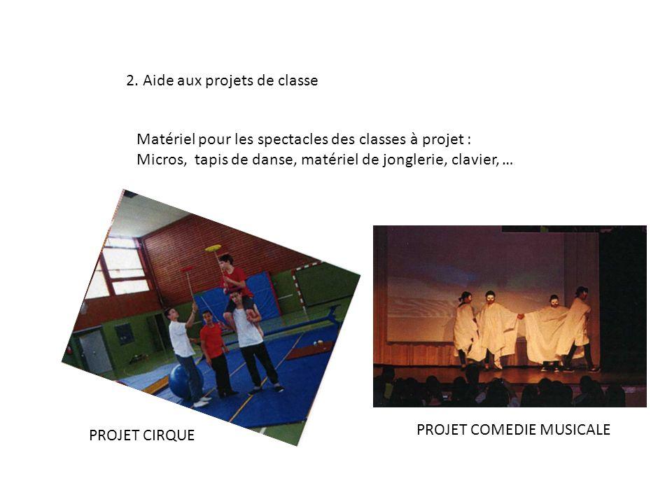 2. Aide aux projets de classe Matériel pour les spectacles des classes à projet : Micros, tapis de danse, matériel de jonglerie, clavier, … PROJET CIR