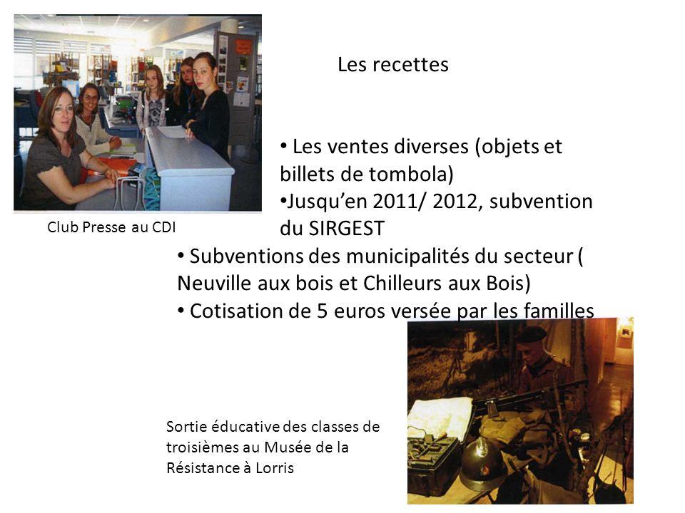 Les recettes Les ventes diverses (objets et billets de tombola) Jusquen 2011/ 2012, subvention du SIRGEST Subventions des municipalités du secteur ( N