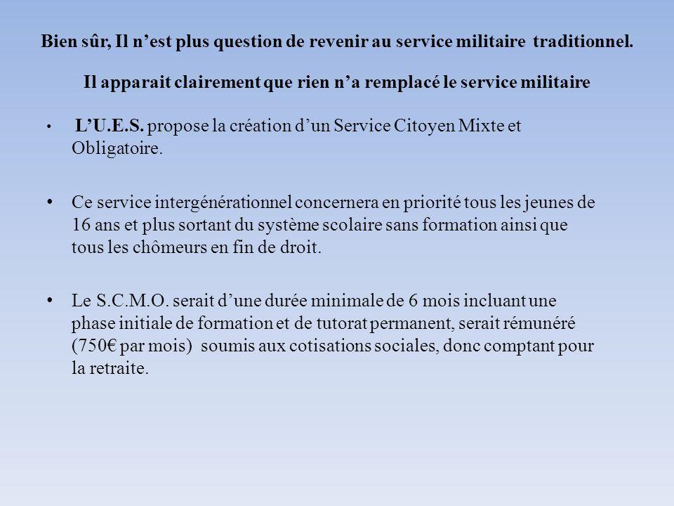 Bien sûr, Il nest plus question de revenir au service militaire traditionnel. Il apparait clairement que rien na remplacé le service militaire LU.E.S.
