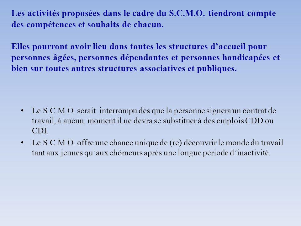 Les activités proposées dans le cadre du S.C.M.O. tiendront compte des compétences et souhaits de chacun. Elles pourront avoir lieu dans toutes les st