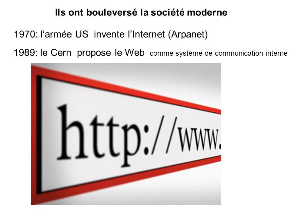 1989: le Cern propose le Web comme système de communication interne Ils ont bouleversé la société moderne 1970: larmée US invente lInternet (Arpanet)