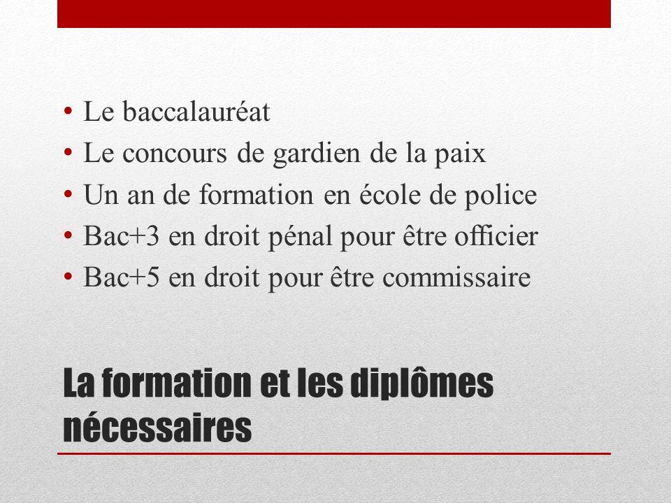 La formation et les diplômes nécessaires Le baccalauréat Le concours de gardien de la paix Un an de formation en école de police Bac+3 en droit pénal