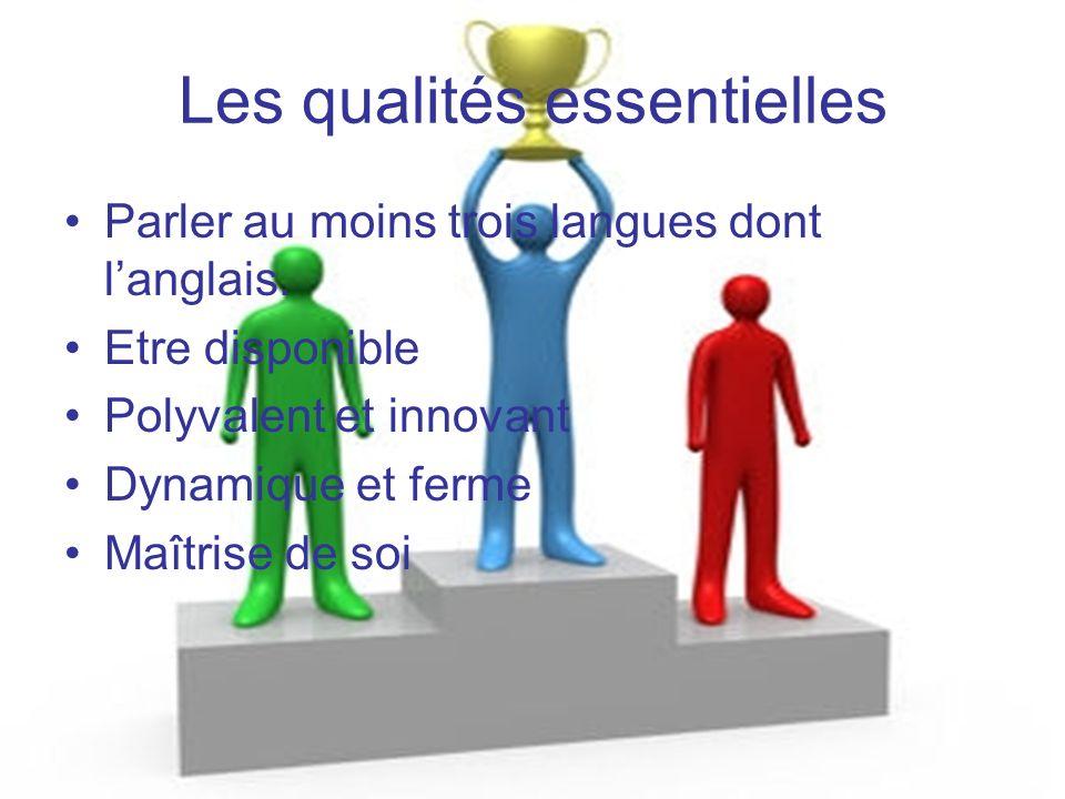Les qualités essentielles Parler au moins trois langues dont langlais. Etre disponible Polyvalent et innovant Dynamique et ferme Maîtrise de soi