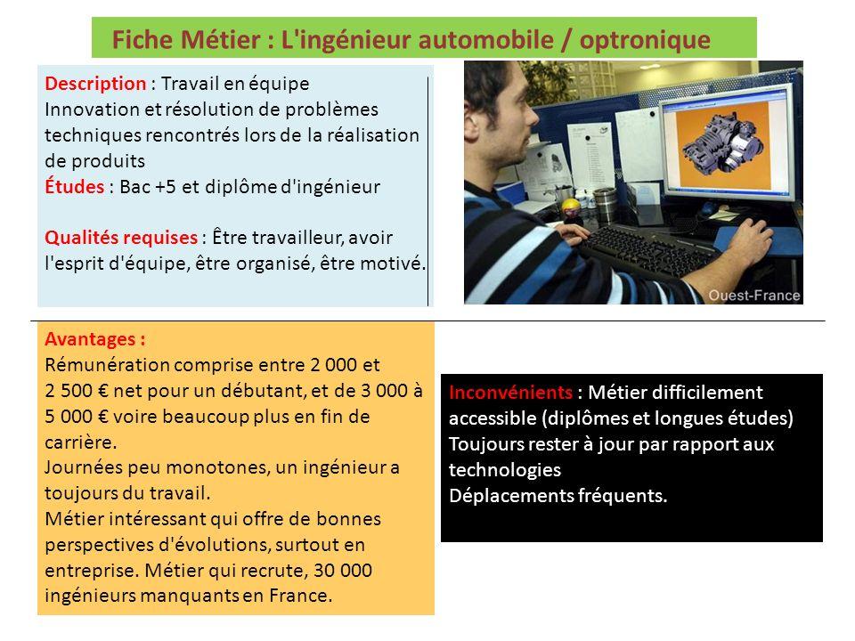 Fiche Métier : L'ingénieur automobile / optronique Description : Travail en équipe Innovation et résolution de problèmes techniques rencontrés lors de