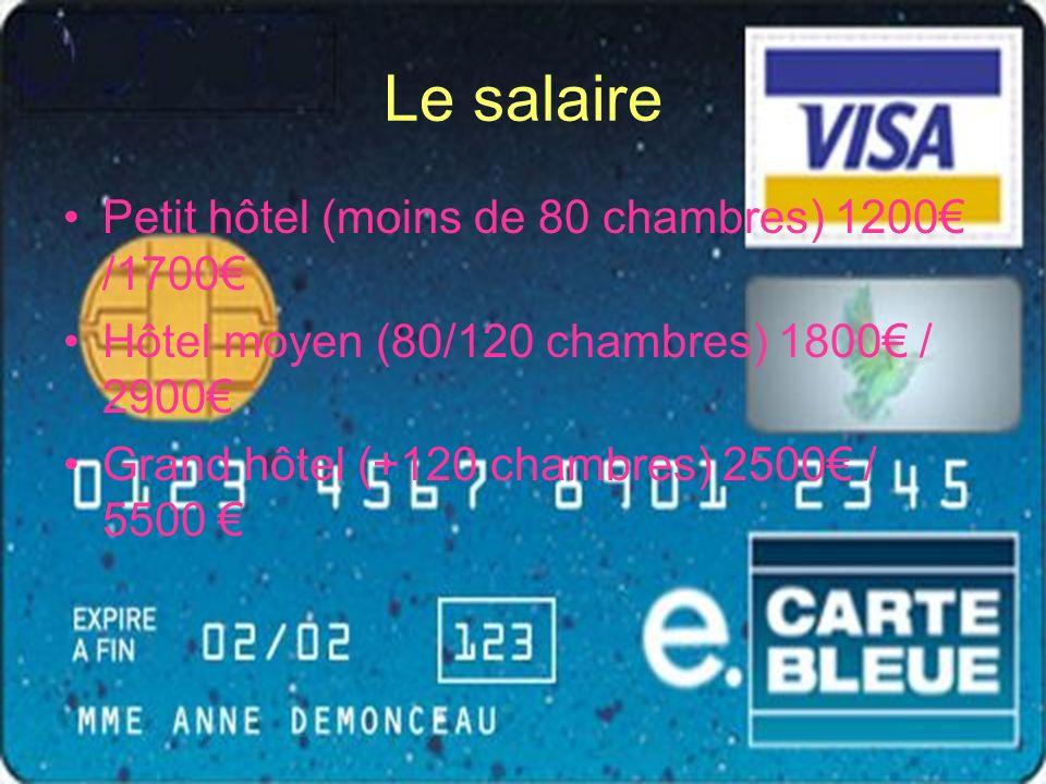 Le salaire Petit hôtel (moins de 80 chambres) 1200 /1700 Hôtel moyen (80/120 chambres) 1800 / 2900 Grand hôtel (+120 chambres) 2500 / 5500