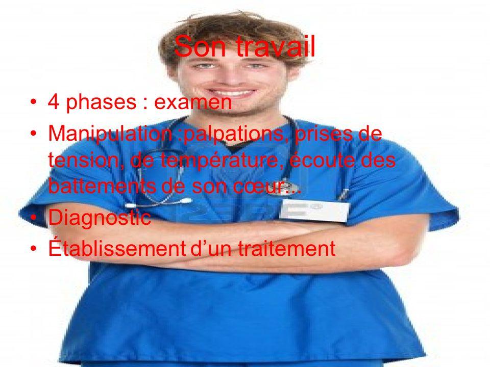 Son travail 4 phases : examen Manipulation :palpations, prises de tension, de température, écoute des battements de son cœur... Diagnostic Établisseme