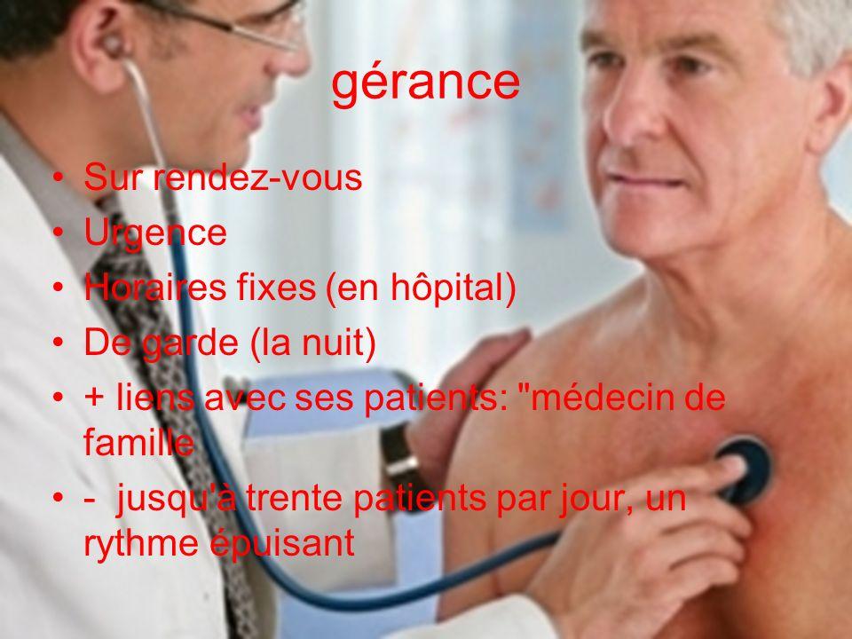 gérance Sur rendez-vous Urgence Horaires fixes (en hôpital) De garde (la nuit) + liens avec ses patients: