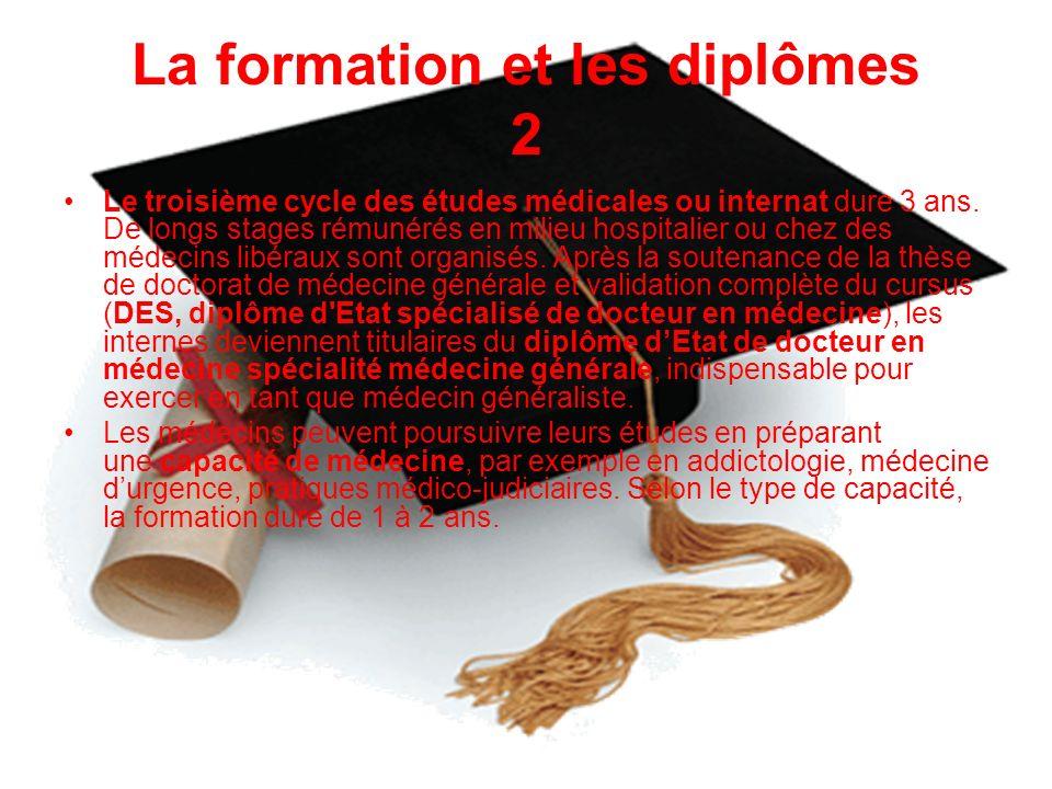 La formation et les diplômes 2 Le troisième cycle des études médicales ou internat dure 3 ans. De longs stages rémunérés en milieu hospitalier ou chez