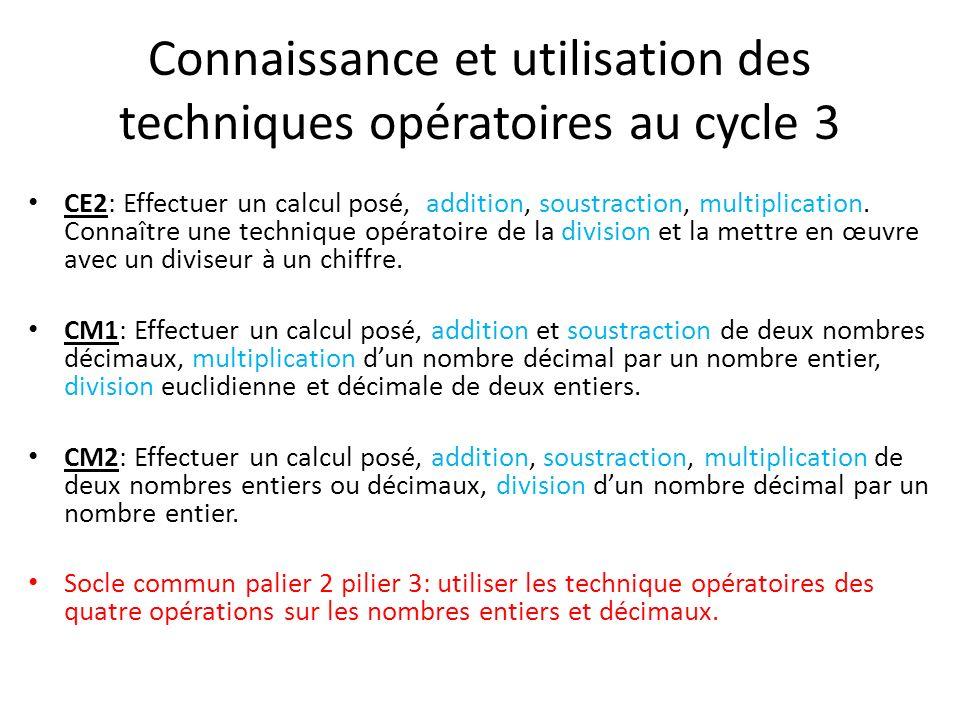 Connaissance et utilisation des techniques opératoires au cycle 3 CE2: Effectuer un calcul posé, addition, soustraction, multiplication. Connaître une