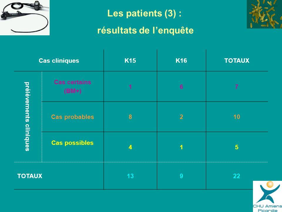 Les patients (3) : résultats de lenquête Cas cliniquesK15K16TOTAUX prélèvements cliniques Cas certains (BM+) 167 Cas probables8210 Cas possibles 415 T