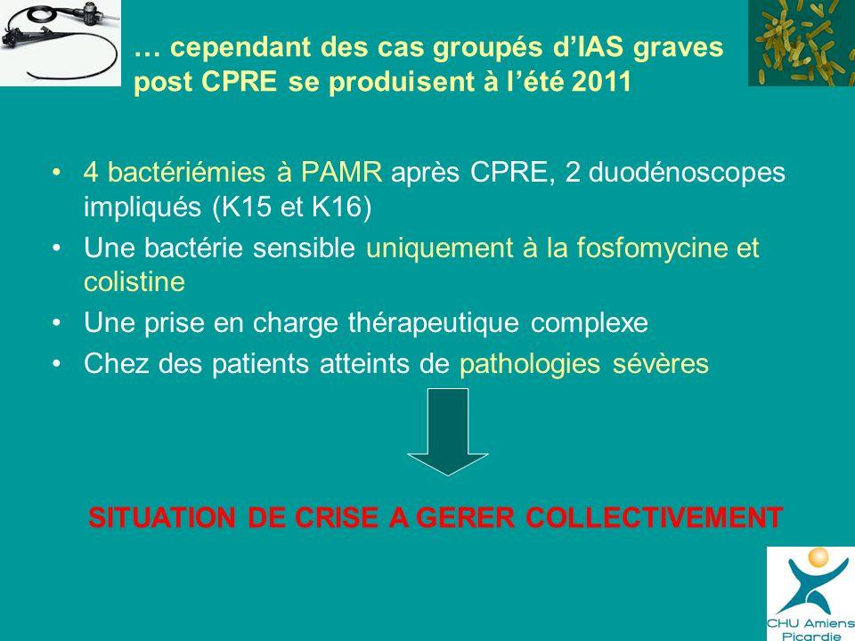 4 bactériémies à PAMR après CPRE, 2 duodénoscopes impliqués (K15 et K16) Une bactérie sensible uniquement à la fosfomycine et colistine Une prise en c