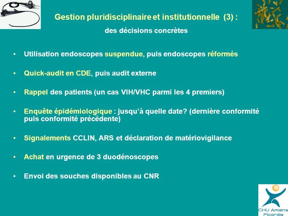 Utilisation endoscopes suspendue, puis endoscopes réformés Quick-audit en CDE, puis audit externe Rappel des patients (un cas VIH/VHC parmi les 4 prem