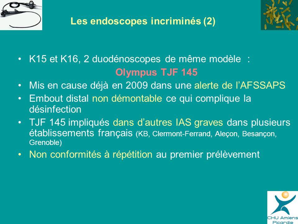 K15 et K16, 2 duodénoscopes de même modèle : Olympus TJF 145 Mis en cause déjà en 2009 dans une alerte de lAFSSAPS Embout distal non démontable ce qui