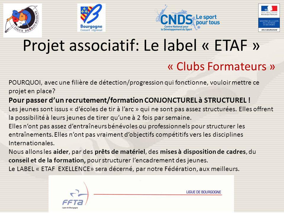 Projet associatif: Le label « ETAF » « Clubs Formateurs » POURQUOI, avec une filière de détection/progression qui fonctionne, vouloir mettre ce projet
