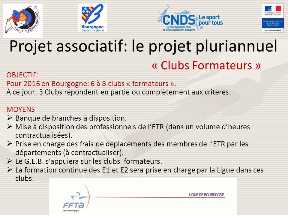 Projet associatif: le projet pluriannuel OBJECTIF: Pour 2016 en Bourgogne: 6 à 8 clubs « formateurs ». À ce jour: 3 Clubs répondent en partie ou compl