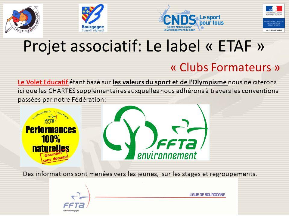 Projet associatif: Le label « ETAF » « Clubs Formateurs » Le Volet Educatif étant basé sur les valeurs du sport et de lOlympisme nous ne citerons ici
