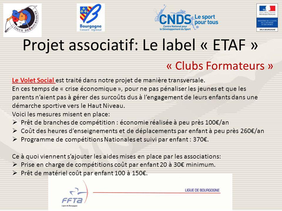 Projet associatif: Le label « ETAF » « Clubs Formateurs » Le Volet Social est traité dans notre projet de manière transversale. En ces temps de « cris