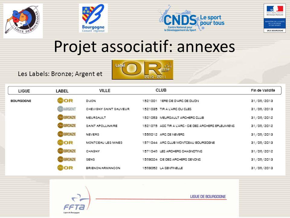 Projet associatif: annexes Les Labels: Bronze; Argent et