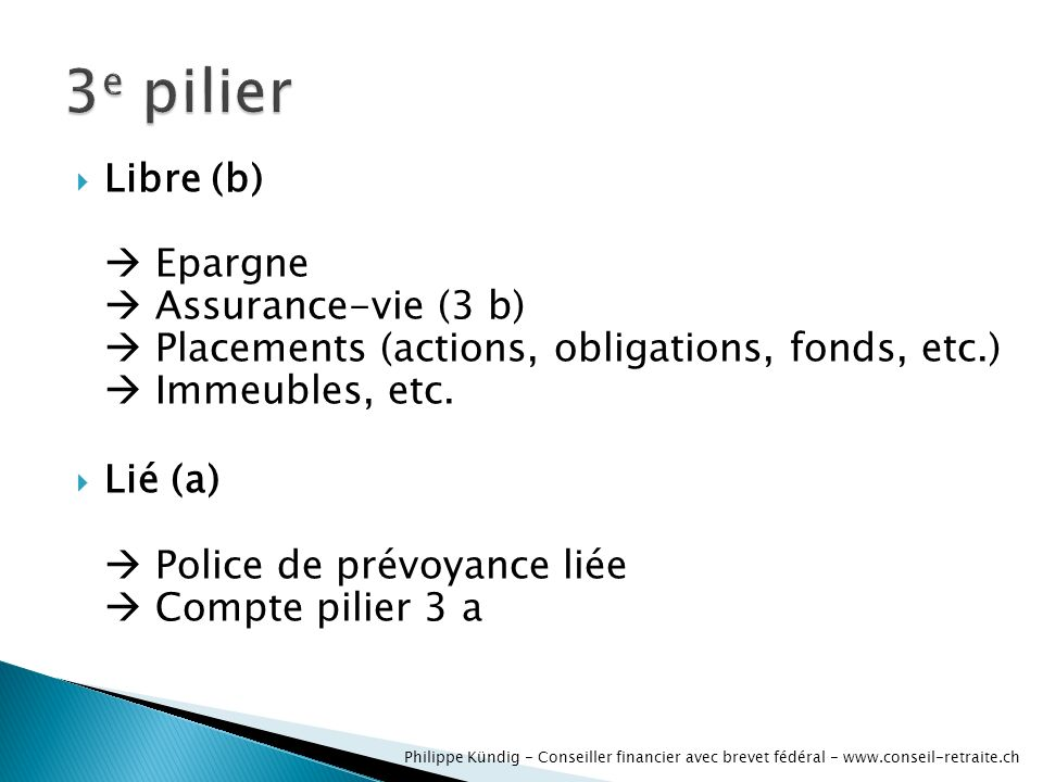 Libre (b) Epargne Assurance-vie (3 b) Placements (actions, obligations, fonds, etc.) Immeubles, etc.