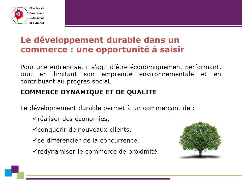 Le développement durable dans un commerce : une opportunité à saisir Pour une entreprise, il sagit dêtre économiquement performant, tout en limitant son empreinte environnementale et en contribuant au progrès social.