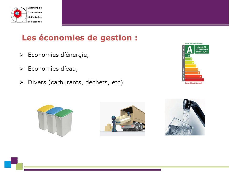 Les économies de gestion : Economies dénergie, Economies deau, Divers (carburants, déchets, etc)